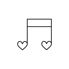 musical heart notes icon. Element of Valentine's Day icon for mobile concept and web apps. Detailed musical heart notes icon can be used for web and mobile