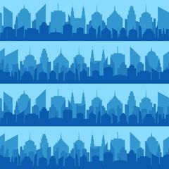 Comic blue cityscape seamless pattern