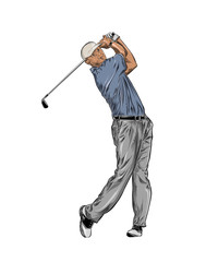 Hand drawn sketch of golfer in color isolated on white background. Detailed vintage style drawing. Vector illustration