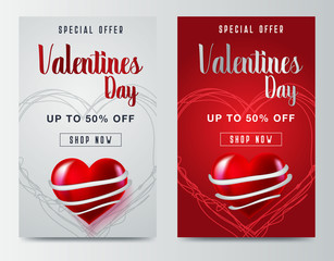 Valentines day sale poster with red and pink hearts background - Vector
