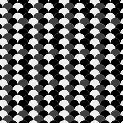 Seamless azure black and gray vintage waves op art pattern