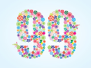 Vector Colorful Floral 99 Number Design isolated on white background. Floral Number Ninety Nine Vector Typeface.