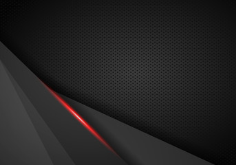 abstract metallic red black frame layout modern tech design template background - Vector