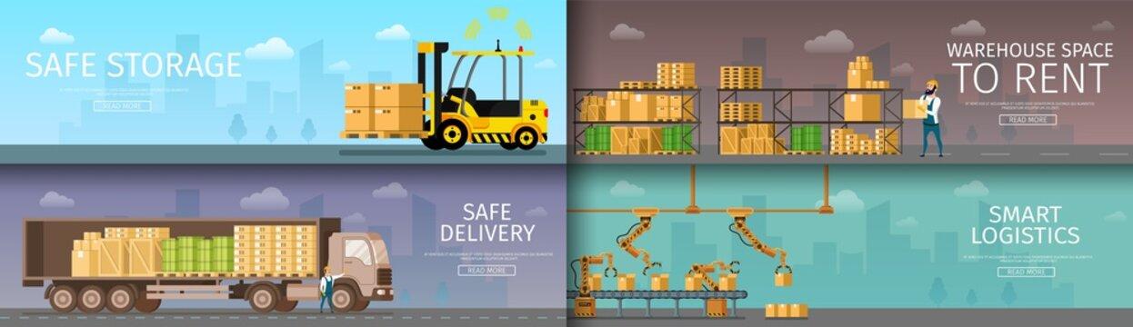 Warehouse Packing Storage Distribution Service Set