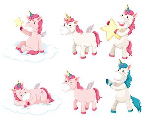 Set of unicorn character