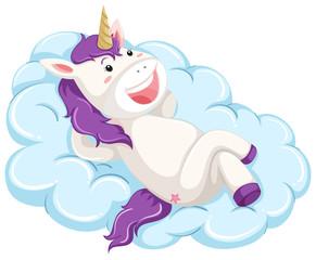 A unicorn lay on cloud