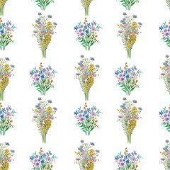 Seamless pattern with watercolor hand drawn bunch of meadow flowers.