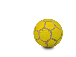 ball soccer yellow old worn isolated in white