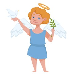 Angel with halo and wings holding dove and branch