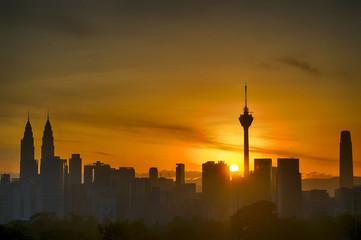 Silhouette of Kuala Lumpur city during Sunrise