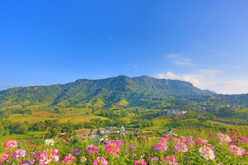 Beautiful mountain landscape with mountain forest and blue sky in Thailand.