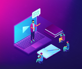 Business people watching online professional presentation on laptop. Online presentation, professional conference, web meeting room concept. Ultraviolet neon vector isometric 3D illustration.