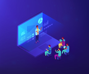 Students e-learning by webinar training and listening to businessman with charts on laptop. Webinar, online video training, tutorial podcast concept. Ultraviolet neon vector isometric 3D illustration.