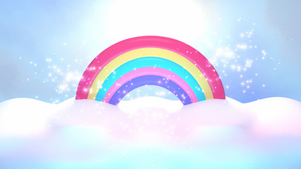 Cartoon rainbow and clouds with shiny magic sparkles effects. 3d rendering picture.