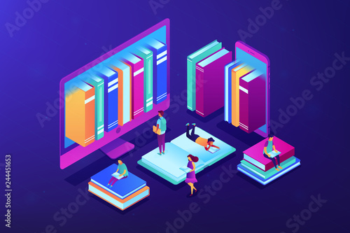 Huge computer and smartphone with a lot of books and students using