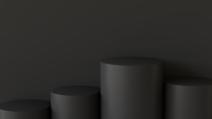 Empty podium on dark background. 3D rendering.