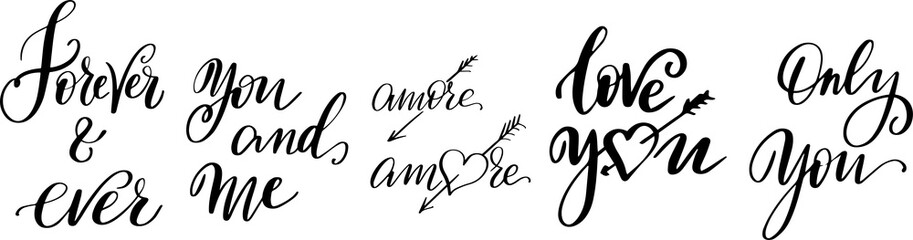 Love hand drawn quotes collection. Valentines day romantic phrases set. Handwritten brush lettering. Modern calligraphy