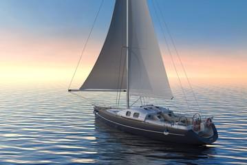 Sailing on sea and sunset 3d illustration
