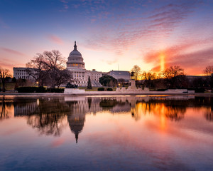 Sunbeam during sunrise at the US Capitol