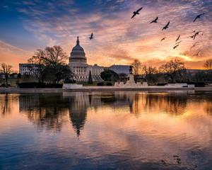 Sunrise flight over the Capitol reflecting pool