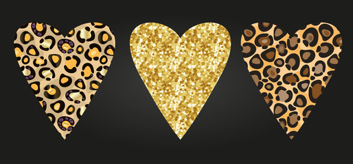 Cheetah and glitter print skin in the shape of a heart. Vector illustration. Valentines day. Greeting card