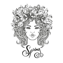 Black and white vector girl decorative hairstyle with flowers, leaves in hair in doodle style. Nature, ornate, floral illustration and hand sketched lettering Hallo summer. Zentangle hand drawn