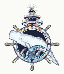 Whale and lighthouse t-shirt art. Travel, adventure, outdoors symbol. Big water waves in the sea