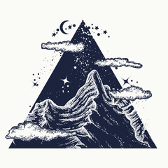 Magic mountains in a triangle, tattoo and t-shirt design