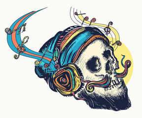 Skull in earphones listens to music, pop culture tattoo and t-shirt design
