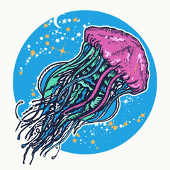 Magic jellyfish floats in deep space tattoo and t-shirt design. Symbol of wandering, deep sea, travel, meditation