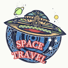Ufo space ship and universe t-shirt design. Space travel art. Paranormal activity, first contact alien poster