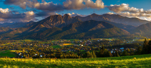 Wall Mural - Beautiful mountain landscape in the light of the setting sun.Panorama.Tatra mountain,Poland
