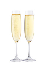 Spoed Foto op Canvas Alcohol Two glasses of champagne isolated on white background