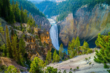 Great Falls of the Yellowstone in Wyoming