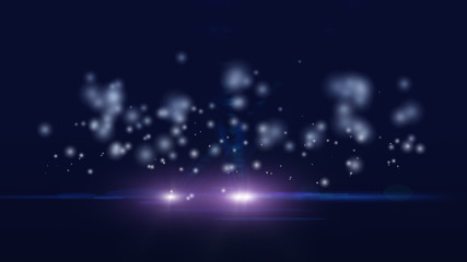 dark purple digital abstract background with wave particles, glow sparkles and space with depth of field. Particles form lines, surface and grid.