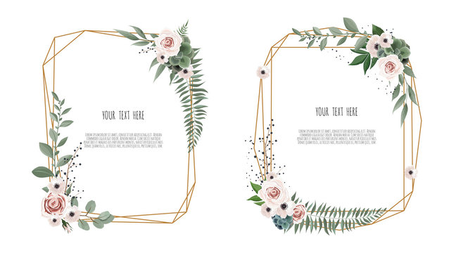 Vector floral botanical card design with leaves with geometrical frame.