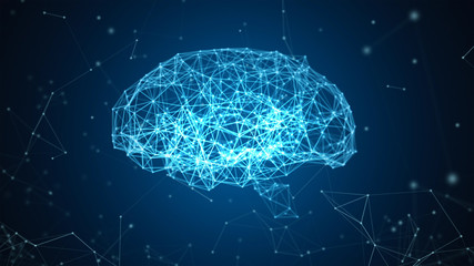 Digital data and network connection of human brain isolated on black background in the form of artificial intelligence for technology and medical concept. Motion graphic. 3d abstract illustration