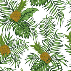 Pineapple green leaves white background seamless