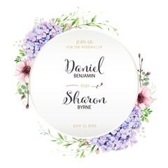 Beautiful leaves floral wedding invitation card. decorative wreath, frame template. Vector. Summer leaf, silver dollar, olive leaves, Hydrangea, anemone flowers.