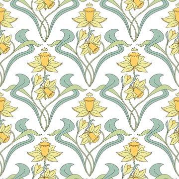 Vintage seamless pattern. Vector floral illustration in vintage style
