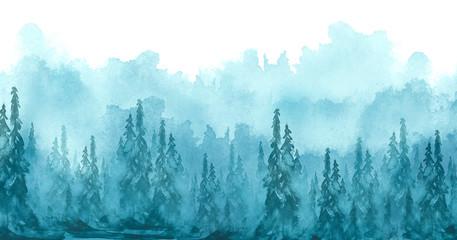 Watercolor art illustration. Drawing of the blue forest, pine tree, spruce, cedar. Dark, dense forest, suburban landscape. Postcard, logo, card. Misty forest, haze.
