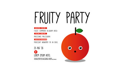 Fruit Party Invitation Design with peach Illustration