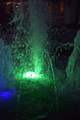 fountain with green lighting