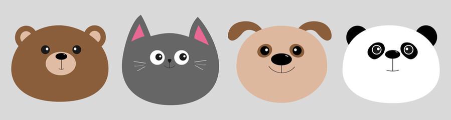 Cartoon kawaii baby bear, cat, dog, panda. Animal head face icon set. Cute cartoon kawaii character. Flat design. Isolated. Gray background.