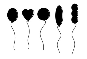 set of simple flat images of balloons