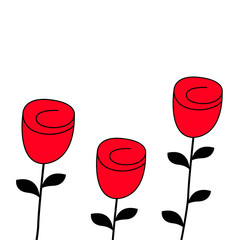 Rose flower blossom icon set. Happy Valentines Day Love Greeting card. Red and black color silhouette. Bud and leaves. Flat design. White background. Isolated.