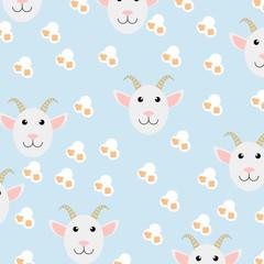 Cute goat seamless pattern with fresh popcorn
