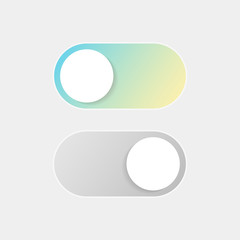 On Off Switch. Vector Switcher for Phone Screens. Toggle Element for Mobile App, Web Design, Animation. Gradient Button for Website. Material Design. Flat Style.
