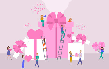 Valentine's day poster, banner, Sale poster with  big box with hearts and small people around them. Editable vector illustration