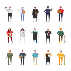 A male character set in various job uniforms. flat design vector graphic style concept illustration.